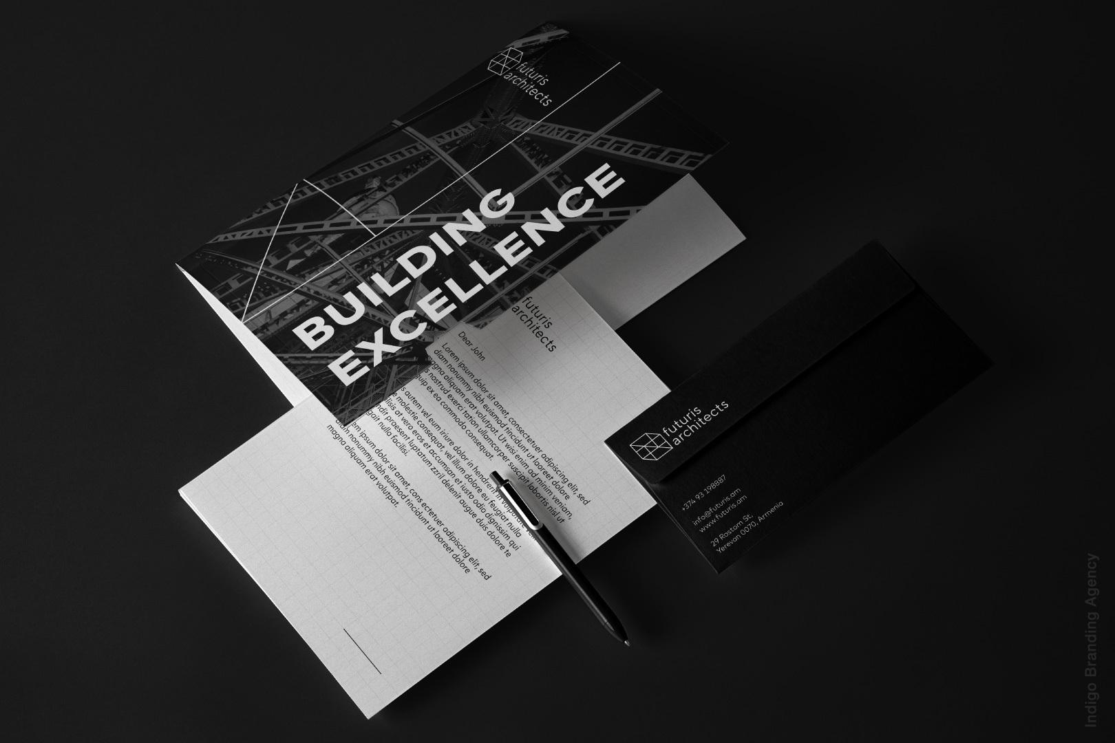 letter catalogue design architectural branding mockup futuris architects interior design logo
