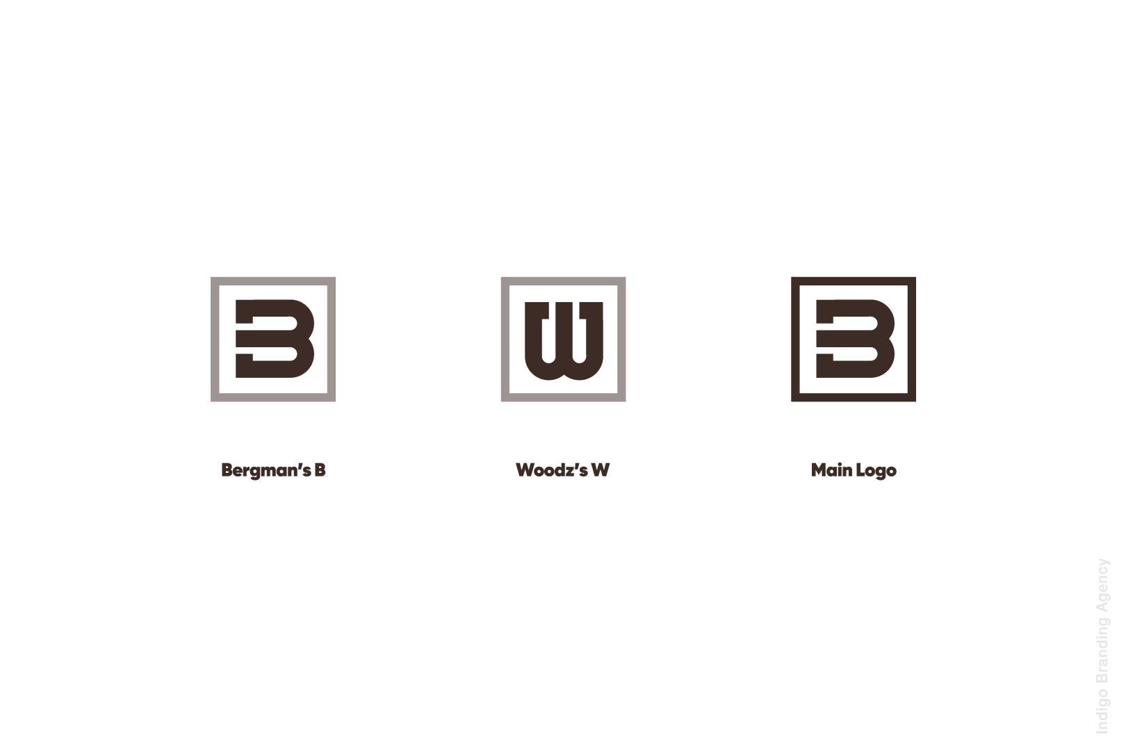 bergman woodz furniture production design wood branding logo design naming indigo branding quality furniture letter b letter W in logo construction