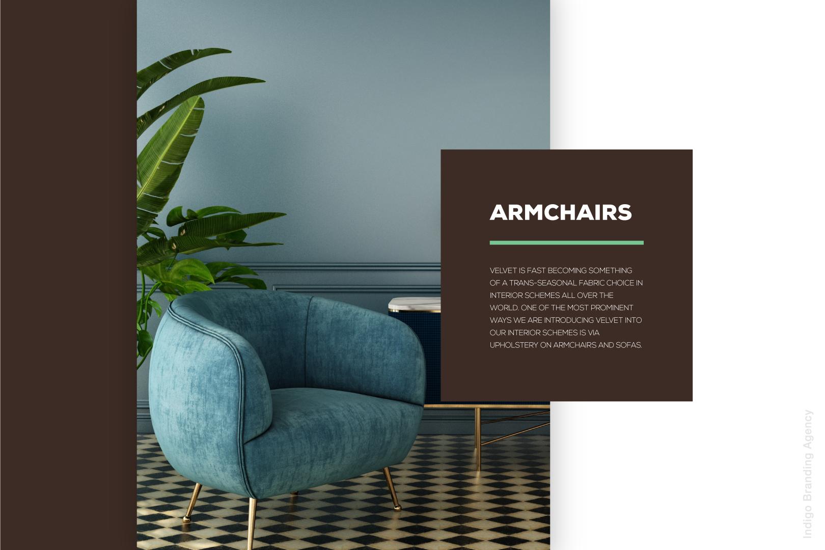 bergman woodz furniture production design wood branding logo design naming indigo branding quality furniture velvet armchair description