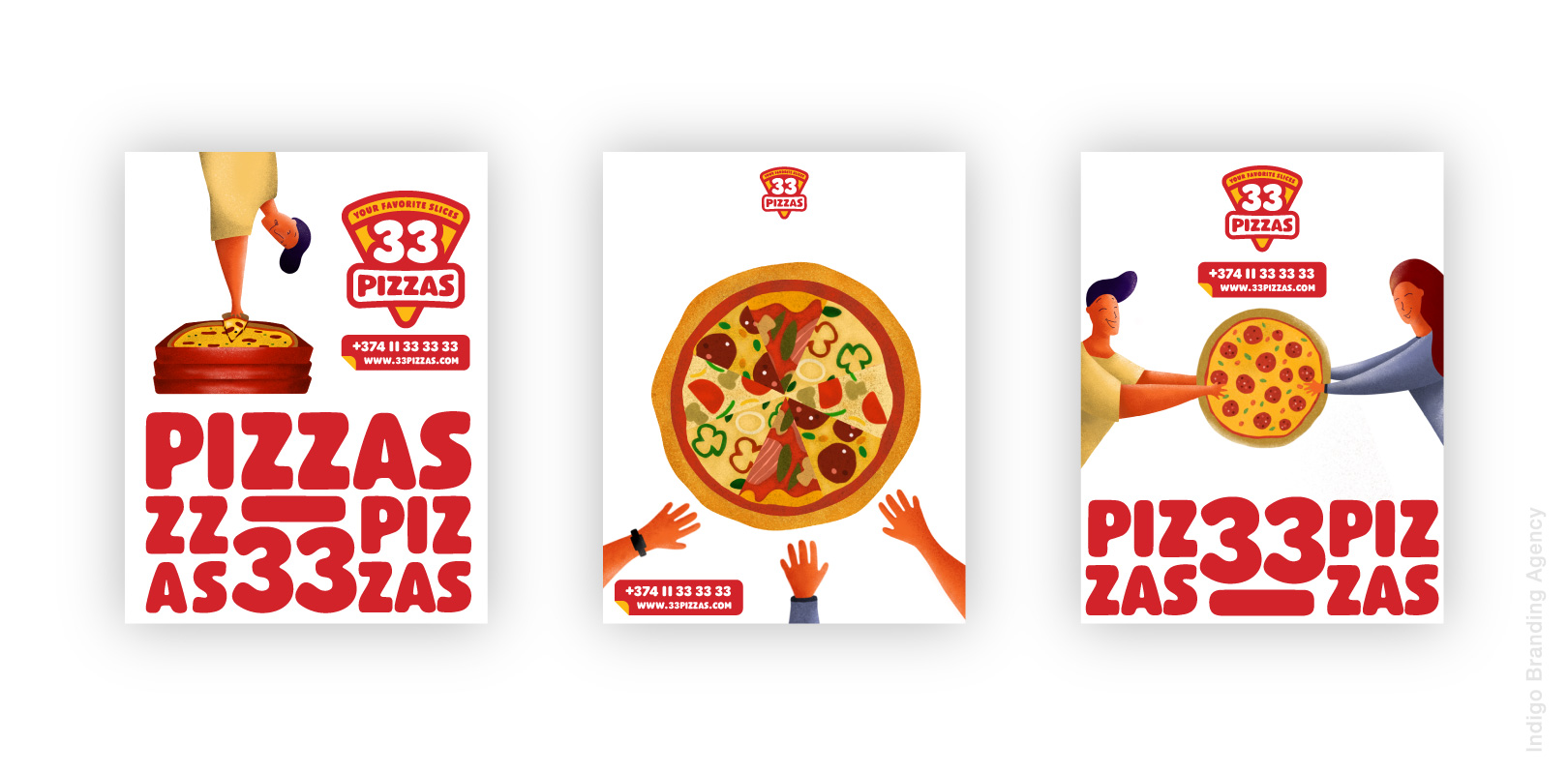 33 pizzas packaging for order delivery branded by indigo Branding